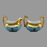 T&V Limoges Pond Lily Design Creamer & Sugar Set (c.1910-1930)