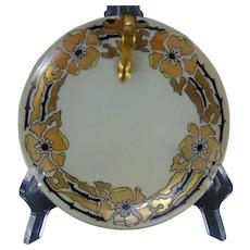 "Porcelain Blank ""Rose Border"" Design Lemon Server/Tray (Signed ""Redfearn""/Dated 1926) - Keramic Studio Design"