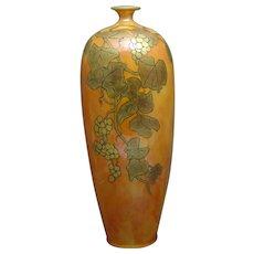 Lenox Belleek (American) Orange Lustre & Gold Grape Design Vase (c.1906-1924)