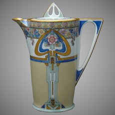 """Hutschenreuther Favorite Bavaria Enameled Floral Design Chocolate Pot (Signed by Atlan Club Artist """"H.M. Peterson""""/Dated 1911)"""