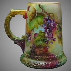 Ceramic Arts Company (CAC) Belleek (American) Grape Design Tankard/Mug (Signed/c.1889-1906)