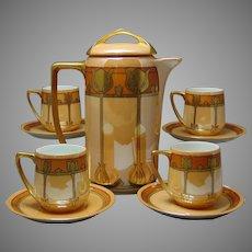 "Rosenthal Bavaria Orange Lustre Art Deco Chocolate Pot & Cups Set (Signed ""Louise Wells""/c.1907-1930) - Keramic Studio Design"