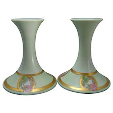 "T&V Limoges Clover Design Candlesticks (Signed ""Emma C. Lovergen""/Dated 1916)"