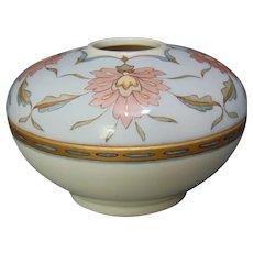 T&V Limoges Floral Design Cotton Ball Dispenser/Trinket Dish (c.1910-1930)