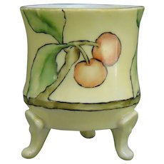Porcelain Blank Cherry Design Footed Toothpick Holder (c.1910-1930)