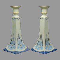 B&Co. Limoges Floral Design Candlesticks (c.1910-1930) - Keramic Studio Design