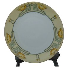 "Hutschenreuther Favorite Bavaria California Poppy Design Plate (Signed ""Maxon""/c.1910-1930)"