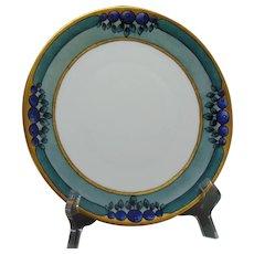 """Hutschenreuther Favorite Bavaria Blueberry Design Plate (Signed """"M. Nolan""""/c.1910-1930)"""