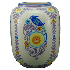 "American Satsuma Enameled Bird & Floral Design Vase (Signed ""M. Keane""/c.1910-1930)"
