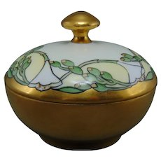 "Hutschenreuther Favorite Bavaria Floral Design Covered Dish/Jar (Signed ""F.M. Stoddard""/Dated 1914)"