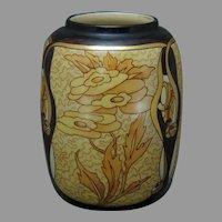 "American Satsuma Art Deco Floral Design Vase (Signed ""F.L. Hosford""/c.1910-1940)"