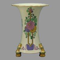 """American Satsuma Enameled Floral Design Vase (Signed """"L. Bland""""/Dated 1925)"""