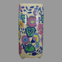 "American Satsuma Enameled Floral Design Vase (Signed ""Florence Brisdecker""/Dated 1924)"