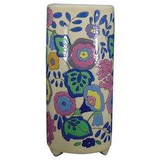"""American Satsuma Enameled Floral Design Vase (Signed """"Florence Brisdecker""""/Dated 1924)"""