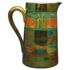 """Porcelain Art Deco Fruit Design Lustre Pitcher (Signed """"Anna R. Jaynes""""/c.1910-1930)"""