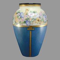 """B&Co. Limoges Floral Design Vase (Signed """"Dennis""""/c.1910-1940)"""