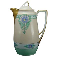 "KPM Germany Floral Design Coffee/Chocolate Pot (Signed ""L. Morris.""/c.1904-1930)"