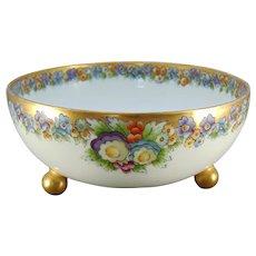 Bavaria Porcelain Floral Design Footed Bowl (c.1909-1930) - Keramic Studio Design