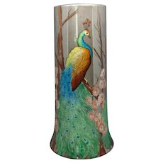 Large B&Co. Limoges Peacock Design Vase (c.1910-1930)