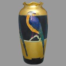 """Pfeiffer & Lowenstein Austria Lustre Bird Design Vase (Signed """"A.A. Engelke""""/c.1916-1930)"""