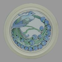 "Porcelain Blank Peacock Design Footed Trivet (Signed ""L.M.I.""/c.1920-1940) - Keramic Studio Design"