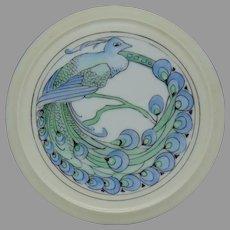 """Porcelain Blank Peacock Design Footed Trivet (Signed """"L.M.I.""""/c.1920-1940) - Keramic Studio Design"""