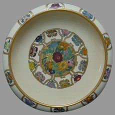 "American Satsuma Enameled Floral Design Centerpiece Bowl (Signed ""R.M.C""/Dated 1926) - Keramic Studio Design"