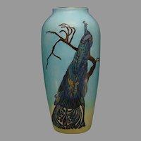 "B&Co. Limoges Peacock Design Vase (Signed ""S. R. Ash""/Dated 1919)"