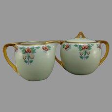 """German Porcelain Floral Design Creamer & Sugar Set (Signed """"E. Borg.""""/c.1910-1930)"""