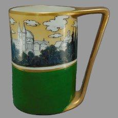 Willets Belleek (American) White's Art Co. Chicago Cathedral Scene Mug/Tankard (c.1904-1920) - Keramic Studio Design