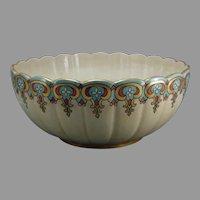 "American Satsuma Floral Design Centerpiece Bowl (Signed ""Auguste Kastendieck""/Dated 1918)"