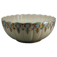 "American Satsuma Floral Design Centerpiece Bowl (Signed ""Auguste Kastendieck""/Dated 1918)"