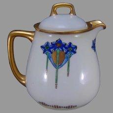 """Bavaria Porcelain Floral Design Syrup Pitcher (Signed """"F.D.""""/Dated 1914)"""
