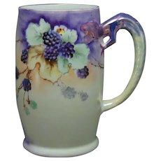 Bavaria Porcelain Dragon-Handled Black Raspberry Design Tankard/Mug (c.1910-1930)