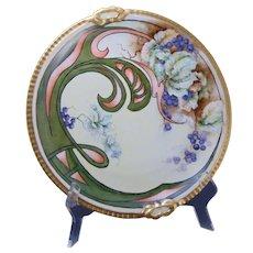 "Coiffe Limoges Blueberry Whiplash Design Charger/Plate (Signed ""V.V.S.""/Dated 1910)"