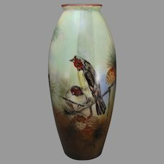 "B&Co. Limoges Birds & Pine Cone Design Vase (Signed ""M.M.""/Dated 1918)"