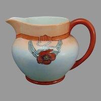 "B&Co. Limoges Poppy Design Pitcher (Signed ""EG""/Dated 1922)"