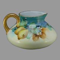 """Bavaria Porcelain Lemon Design Cider/Lemonade Pitcher (Signed """"Layman Studios""""/c.1910-1940)"""