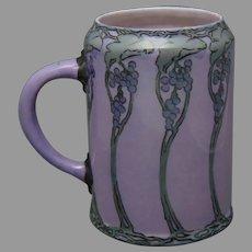 Willets Belleek (American) Grape Design Tankard/Mug (Signed/c.1913-1930) - Keramic Studio Design