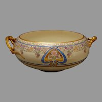 "Willets Belleek (American) Enameled Floral Design Dragon-Handled Centerpiece Bowl (Signed ""E.H.C.""/c.1912-1930) - Keramic Studio Design"