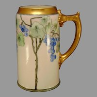 "Lenox Belleek (American) Grape Design Tankard/Mug (Signed ""JD""/Dated 1910) - Keramic Studio Design"