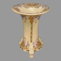 "American Satsuma Enameled Floral Design Footed Vase (Signed ""SNB""/c.1910-1930)"