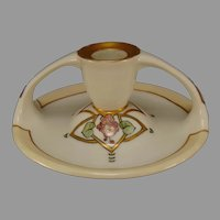 "Bavaria Porcelain Floral Design Candle Holder (Signed ""N.C. Woodcock""/c.1910-1930)"