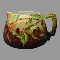 "CAC Belleek (American) Cherry Design Pitcher (Signed ""Henrietta Barclay Wright"" (Paist)/Dated 1899) - Keramic Studio Design"