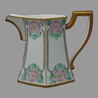 """T&V Limoges Wild Rose Design Pitcher (Signed """"G.R. Hinely""""/Dated 1916) - Keramic Studio Design"""