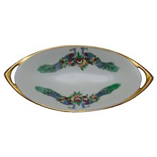 "Rosenthal Selb Bavaria Peacock & Fruit Design Dish (Signed ""E. Shiels""/c.1909-1930) - Keramic Studio Design"