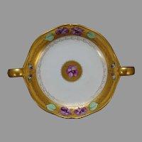 "J.H. Stouffer Company Violet Design Dish (Signed ""W. Stens""/c.1906-1914)"