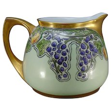 """RS Germany Grape & Fruit Design Pitcher (Signed """"A.R. Morgan""""/c.1910-1930)"""