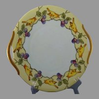 "Bavaria ""Birds & Blackberries"" Design Plate (Signed ""M. Badeau""/c.1907-1930) - Keramic Studio Design"