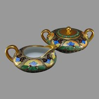 "Pickard Studios ""Red & Blue Conventionalized Flowers"" Design Creamer & Sugar Set (c.1905-1910)"